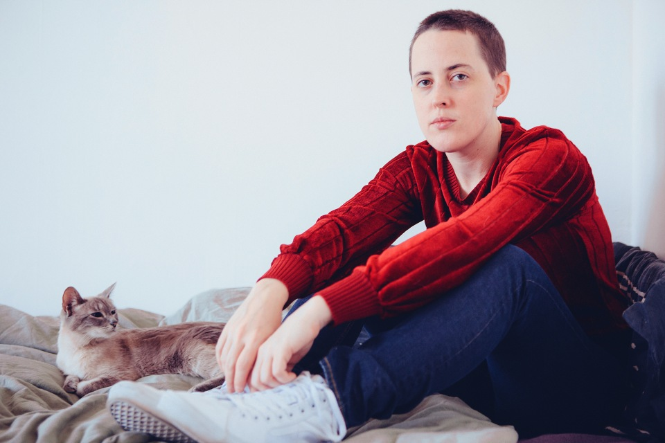 January 11, 2015 - Baltimore, MD - Musician Jana Hunter of the band Lower Dens photographed in her home (Frank Hamilton)