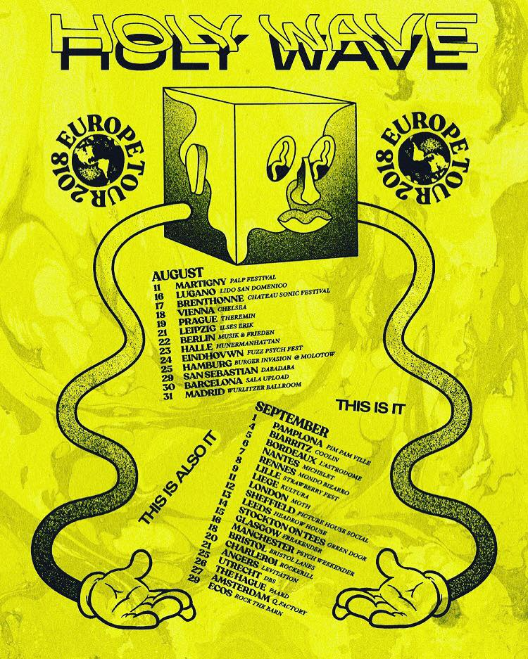 Holy Wave 2018 UK Europe tour poster by Levitation Austin